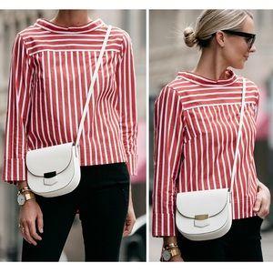 Jcrew red white striped boatneck shirt - size 4